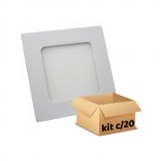 Kit Plafon Led de Embutir 6w Quadrado Branco Frio - 20 Peças