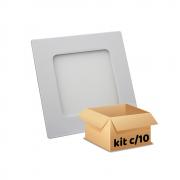 Kit Plafon Led de Embutir 6w Quadrado Branco Quente - 10 Peças