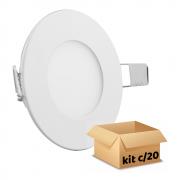 Kit Plafon Led de Embutir 6w Redondo Branco Frio - 20 Peças