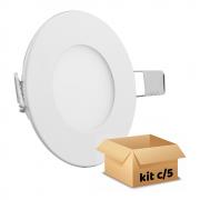 Kit Plafon Led de Embutir 6w Redondo Branco Quente - 5 Peças