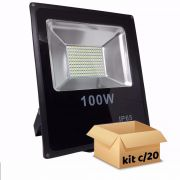 Kit Refletor de Led 100W Branco Frio Bivolt - 20 Peças