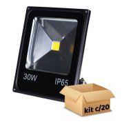 Kit Refletor de Led 30W Branco Frio Bivolt - 20 Peças