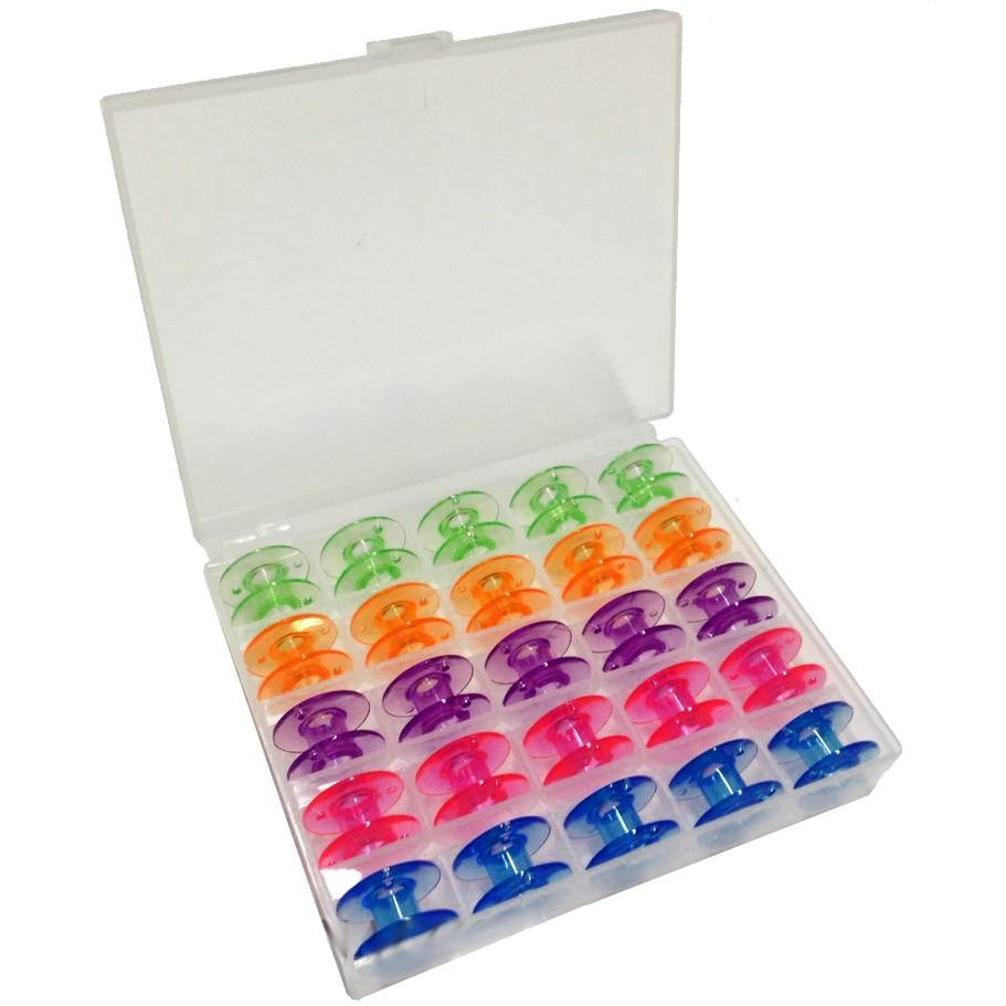 Estojo com 25 Carretilhas Plásticas Coloridas