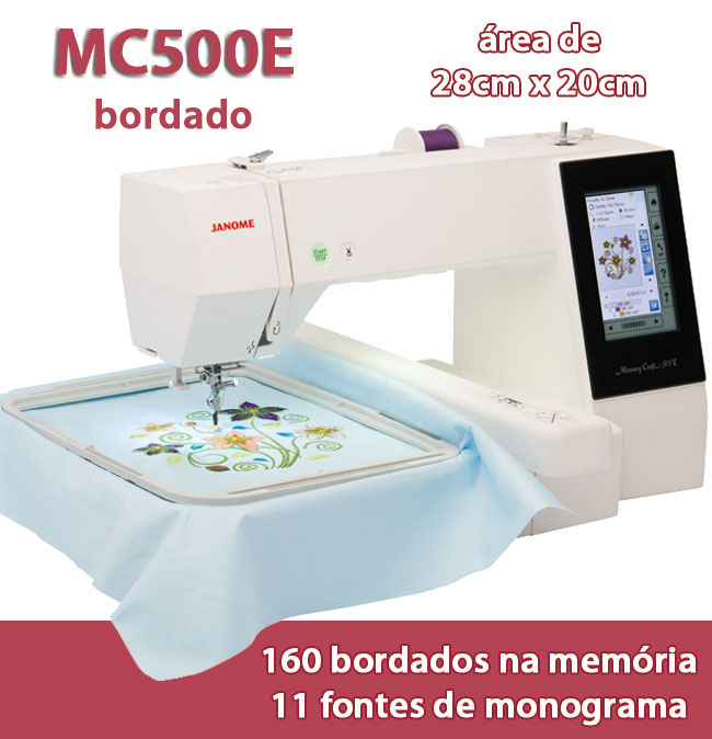 Maquina de Bordar Domestica da Janome MC500e 28x20cm