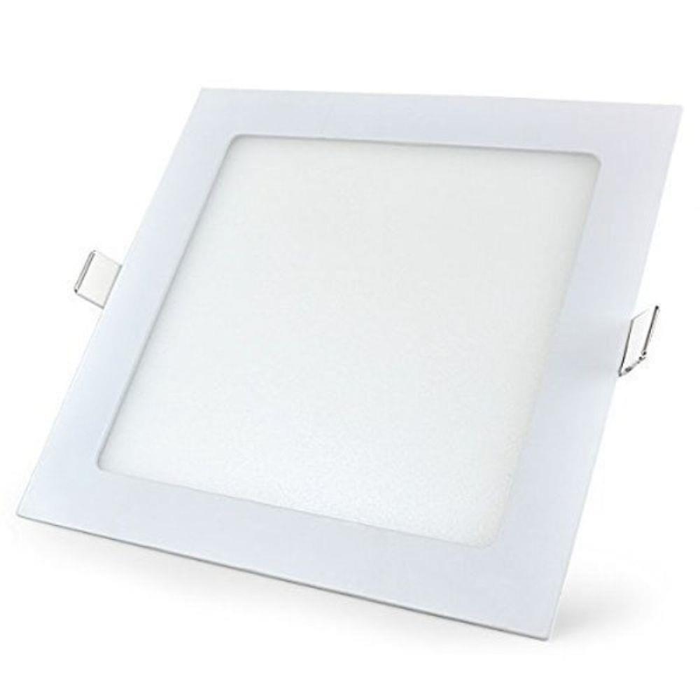 Kit Plafon Led de Embutir 12w Quadrado Branco Frio - 5 Peças