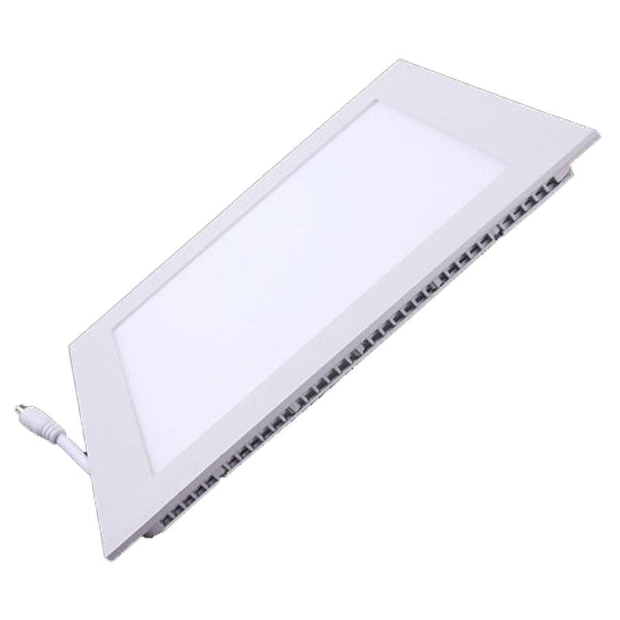 Kit Plafon Led de Embutir 12w Quadrado Branco Quente - 10 Peças