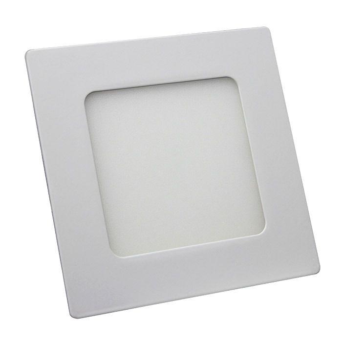 Kit Plafon Led de Embutir 6w Quadrado Branco Frio - 5 Peças