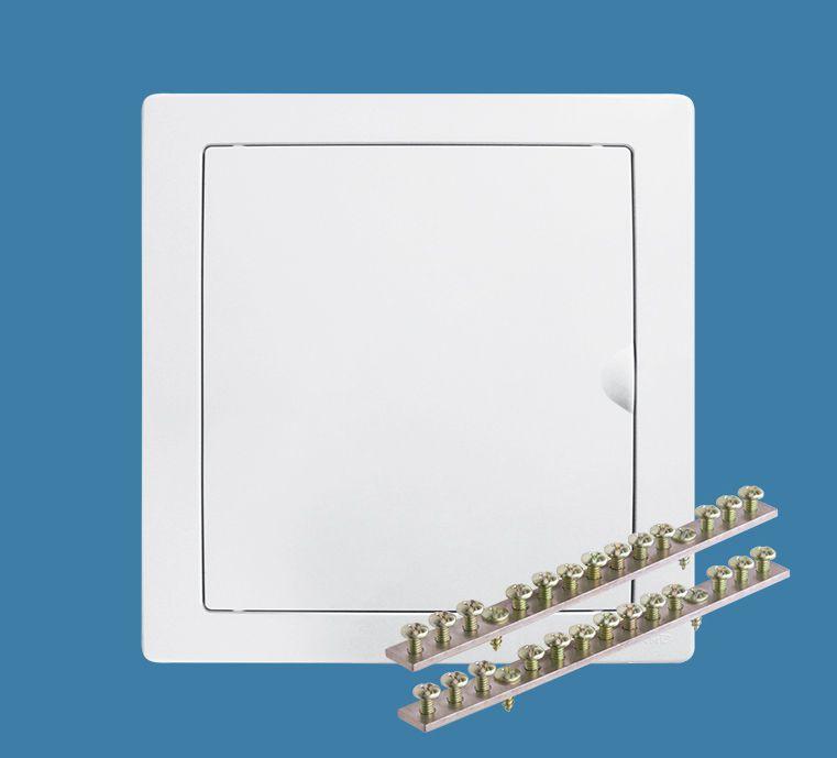 Quadro de Distribuição de Embutir para 16 Disjuntores NEMA ou 24 DIN - Porta Branca Reversível
