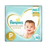 FRALDA PAMPERS PREMIUM CARE P C/40
