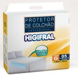 PROTETOR DESCARTAVEL DE COLCHAO HIGIFRAL G C/5  - Ruth Fraldas