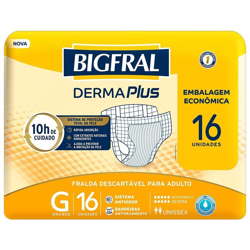 FRALDA GERIATRICA BIGFRAL DERMA PLUS G C/16  - Ruth Fraldas