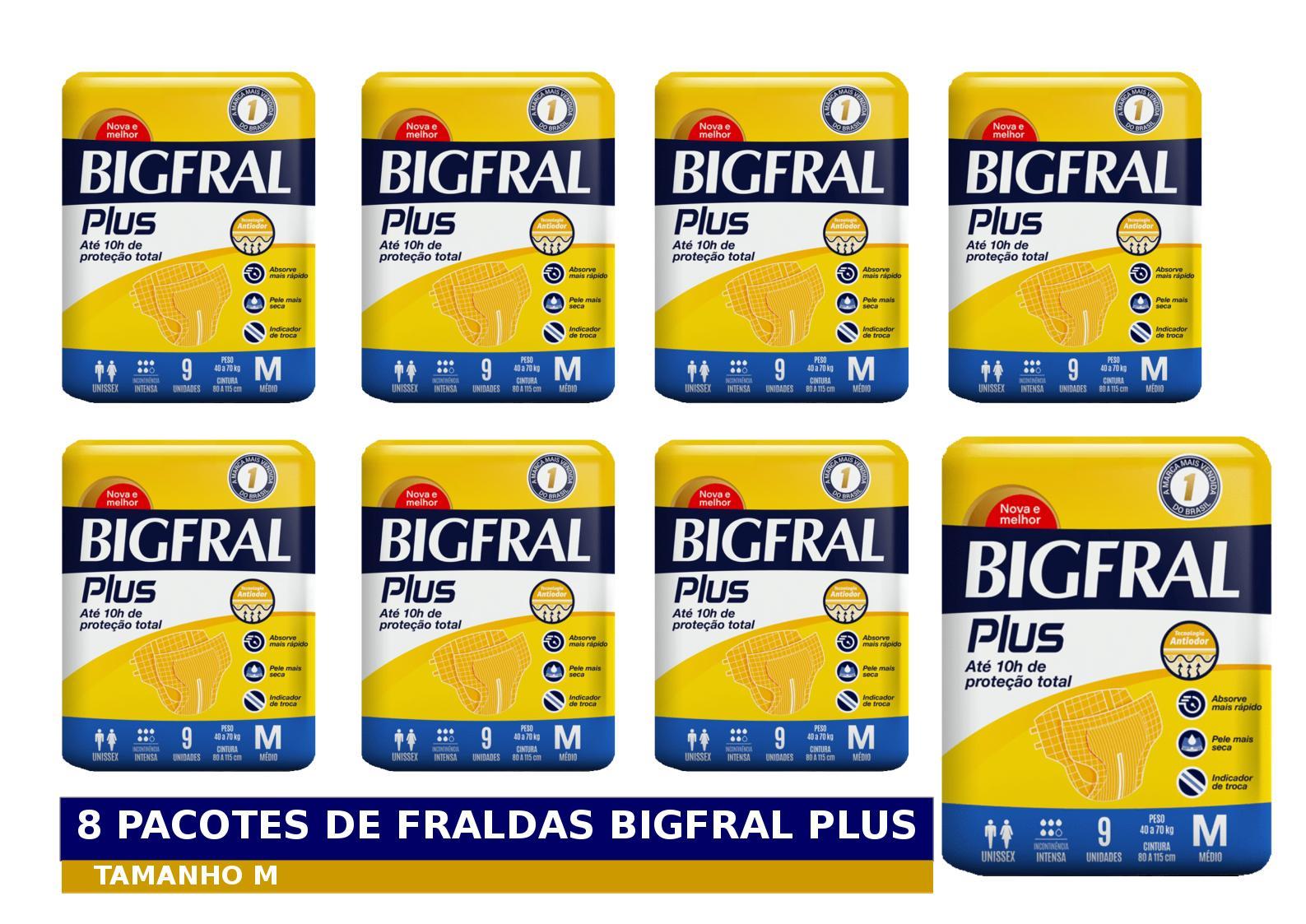 FRALDA GERIATRICA BIGFRAL PLUS M 8 PCT. C/9 CXF  - Ruth Fraldas