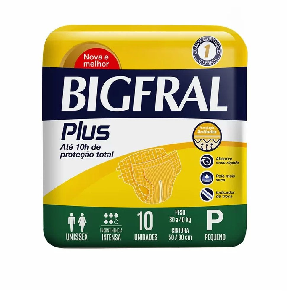 FRALDA GERIATRICA BIGFRAL PLUS P 8 PCT.C/10 CXF  - Ruth Fraldas