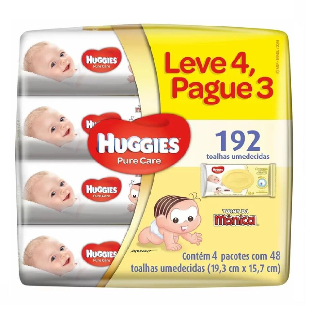 KIT LENÇOS UMED. HUGGIES PURE CARE C/48 LV4 PG3  - Ruth Fraldas