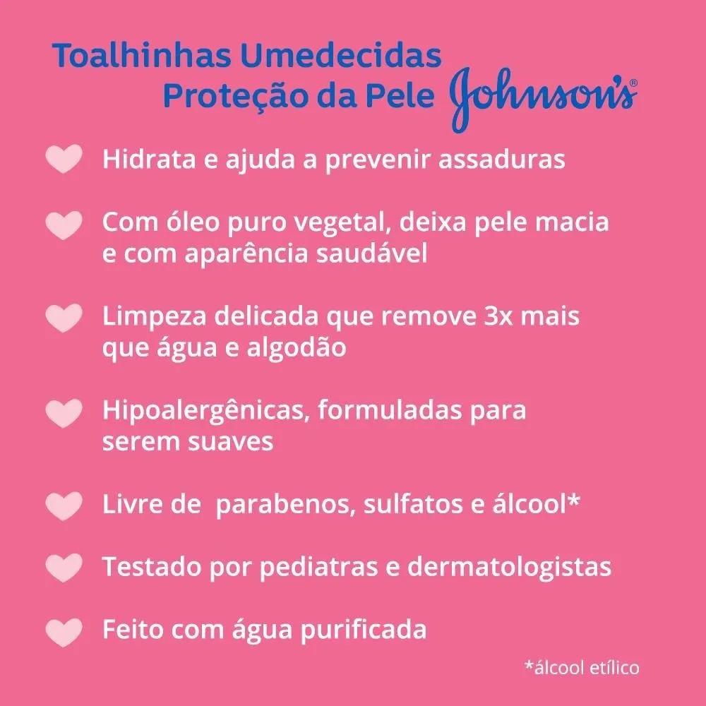 LENÇOS UMEDECIDOS JOHNSONS PROTEÇÃO DA PELE C/48  - Ruth Fraldas