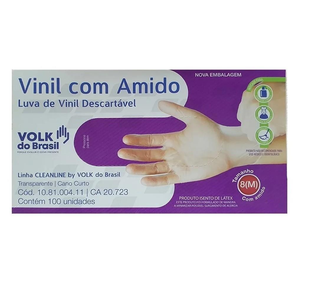 LUVA DE VINIL C/AMIDO VOLK M C/100  - Ruth Fraldas