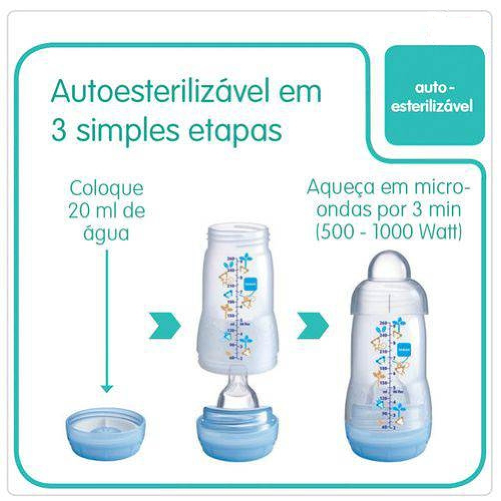 MAMADEIRA MAM FIRST BOTTLE 260 ML AZUL  - Ruth Fraldas