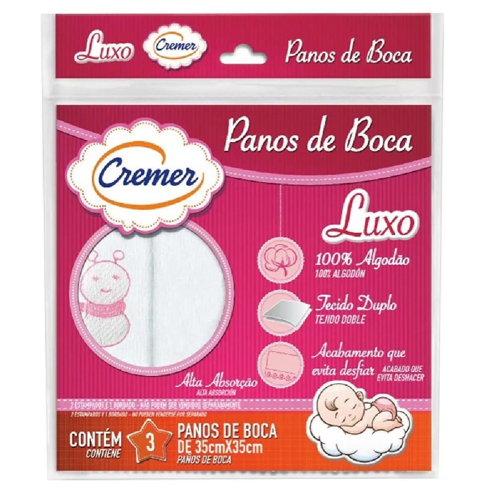PANOS DE BOCA BORDADOS CREMER 35X35 C/3 FEM  - Ruth Fraldas