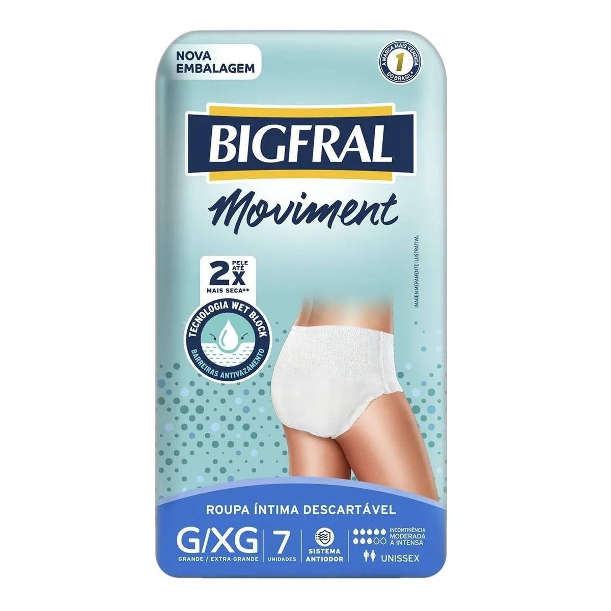 ROUPA INTIMA MOVIMENT BIGFRAL UNISSEX G/XG C/7  - Ruth Fraldas