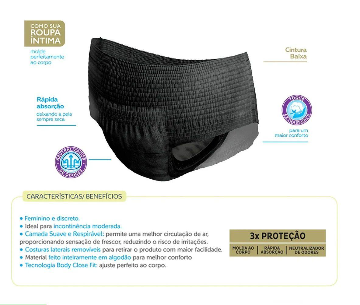 ROUPA INTIMA TENA PANTS DISCREET BLACK P/M C/8  - Ruth Fraldas