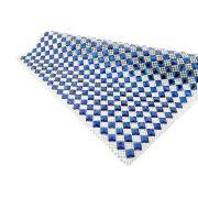 Manta de Strass com Chaton - Cristal com Cobalt Diagonal - Peça Inteira
