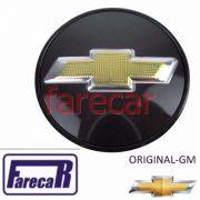Calota 59 mm Tampa Miolo Roda com logo GM preto e dourado Onix Cobalt Spin Vectra Prisma