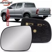Subconjunto de Lente de Vidro Espelho Com Base do Retrovisor Metagal Lado Esquerdo Toyota Hilux e SW4 2012 2013 2014 2015