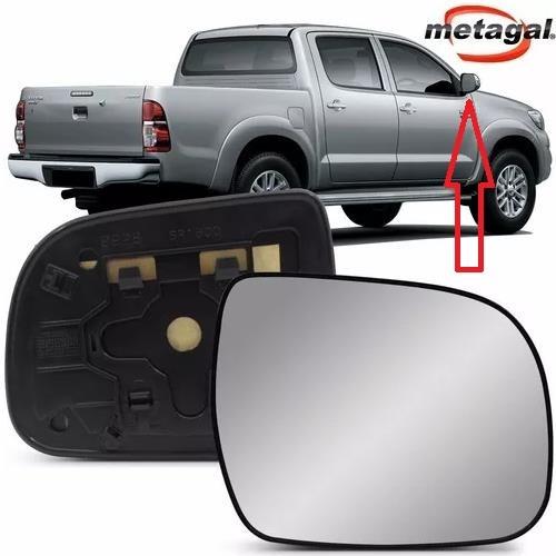 Subconjunto de Lente de Vidro Espelho Com Base do Retrovisor Metagal Lado Direito Toyota Hilux e SW4 2012 2013 2014 2015  - Farecar Comercio