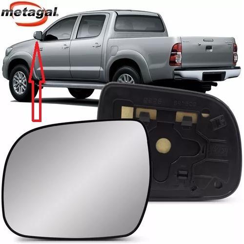 Subconjunto de Lente de Vidro Espelho Com Base do Retrovisor Metagal Lado Esquerdo Toyota Hilux e SW4 2012 2013 2014 2015  - Farecar Comercio