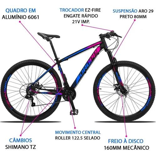 BICICLETA ARO 29 DROPP Z3  SHIMANO 21V FREIO A DISCO AZUL/ROSA