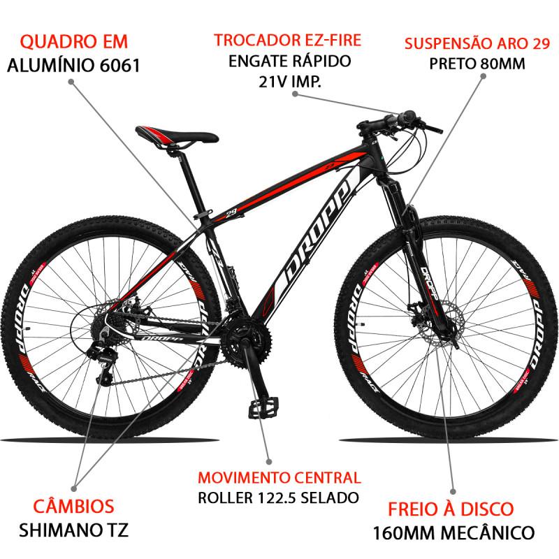 BICICLETA ARO 29 DROPP Z3  SHIMANO 21V FREIO A DISCO PTO/VM/BCO