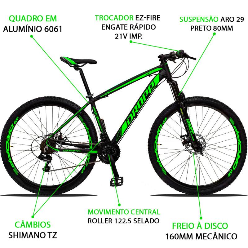 BICICLETA ARO 29 DROPP Z3  SHIMANO 21V FREIO A DISCO VERDE
