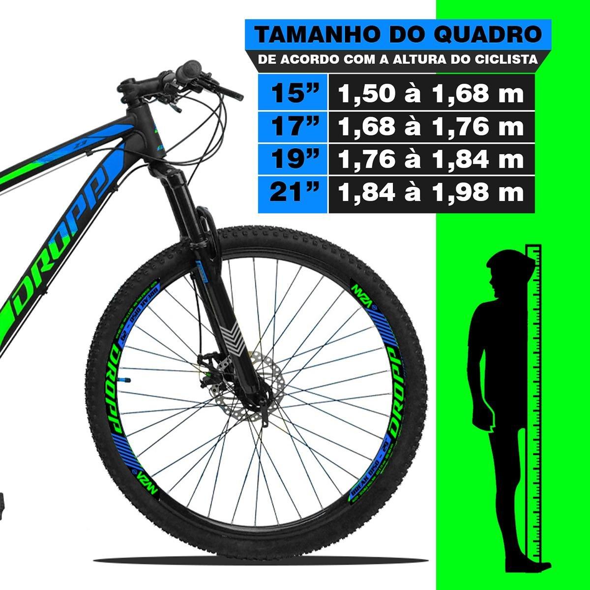 BICICLETA ARO 29 DROPP Z3  SHIMANO 21V FREIO A DISCO VERDE/AZUL