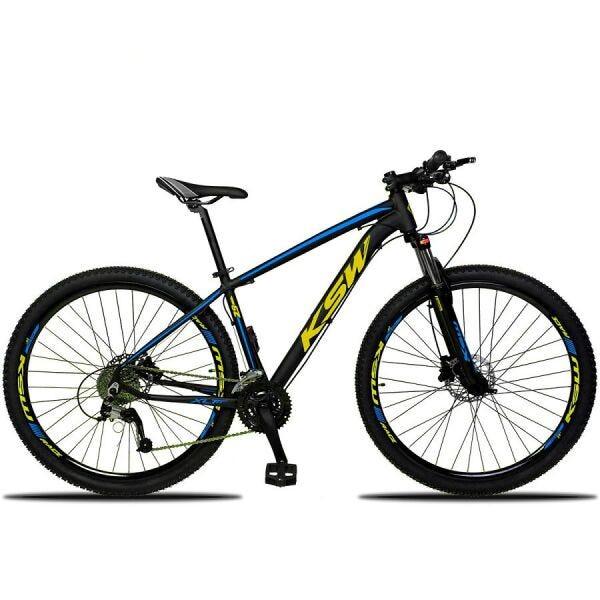 BICICLETA ARO 29 KSW XLT   SHIMANO 21V  AZUL/AMAREL DETALHE