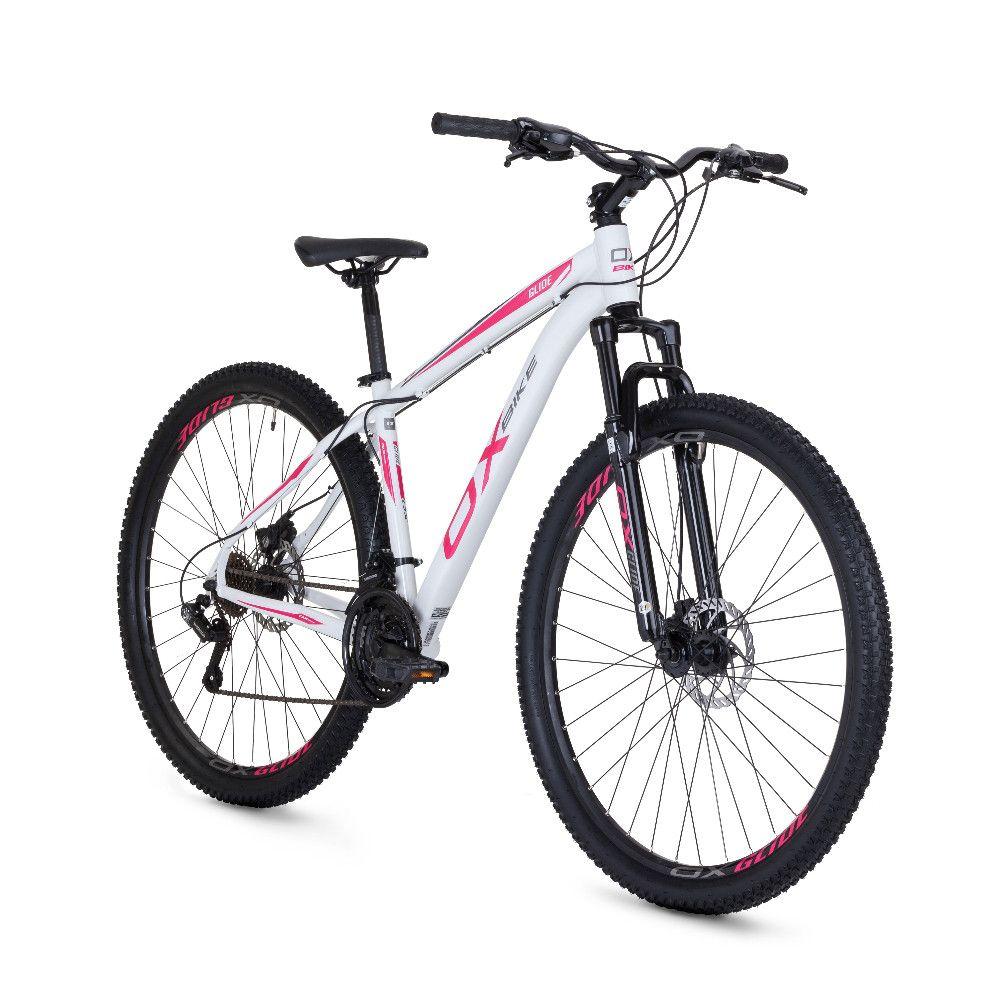 Bicicleta Mtb Ox Bike Aro 29 Hard Glide - Branco e Rosa