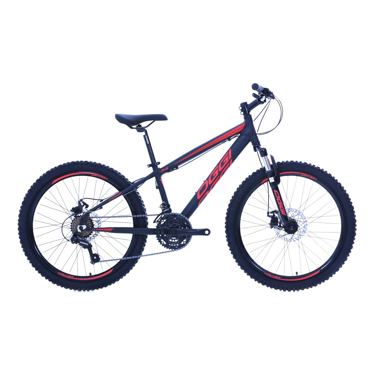 Bicicleta Oggi Hacker aro 24 21v  Pto/Verm