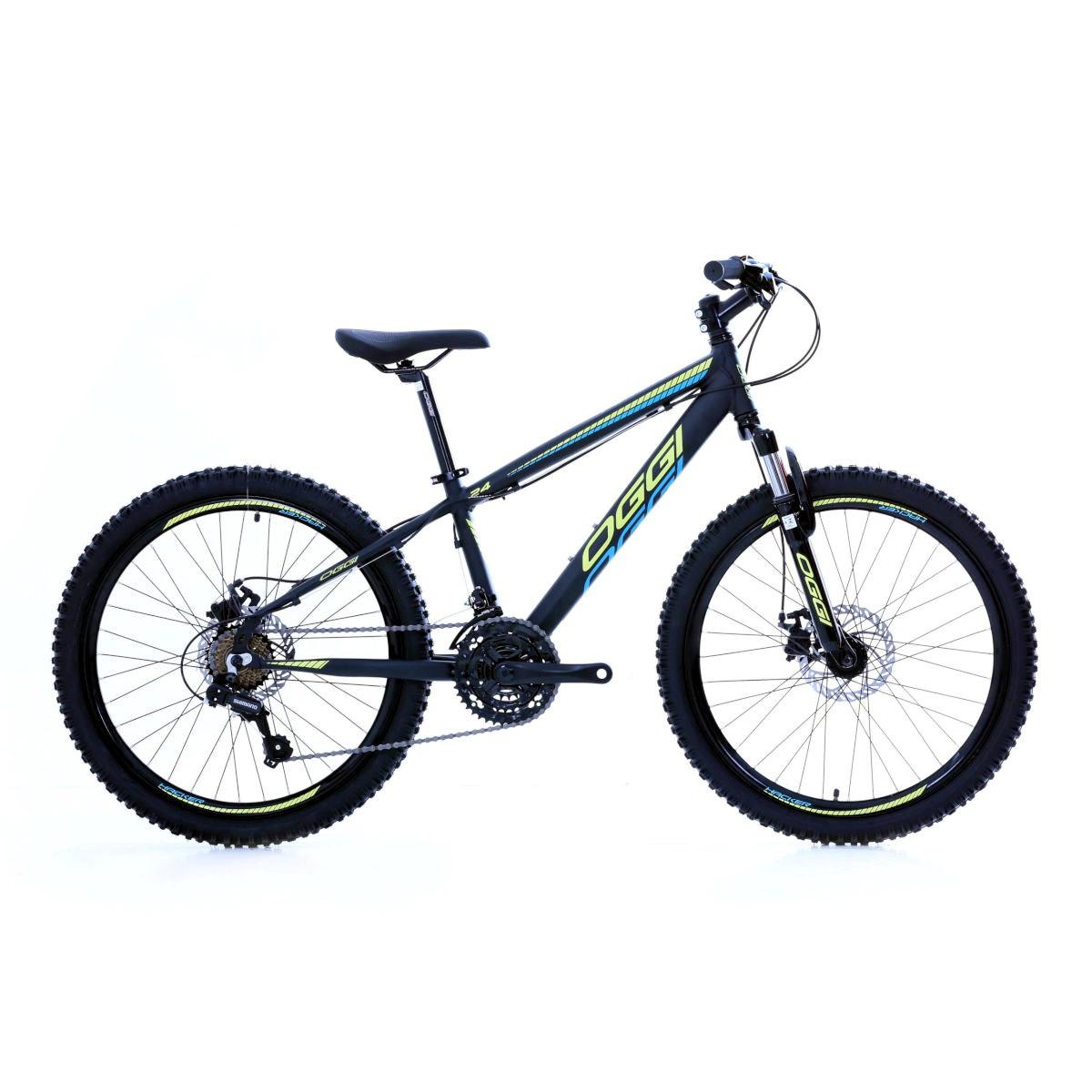 Bicicleta Oggi Hacker aro 24 21v  Pto/Amarelo/Azul