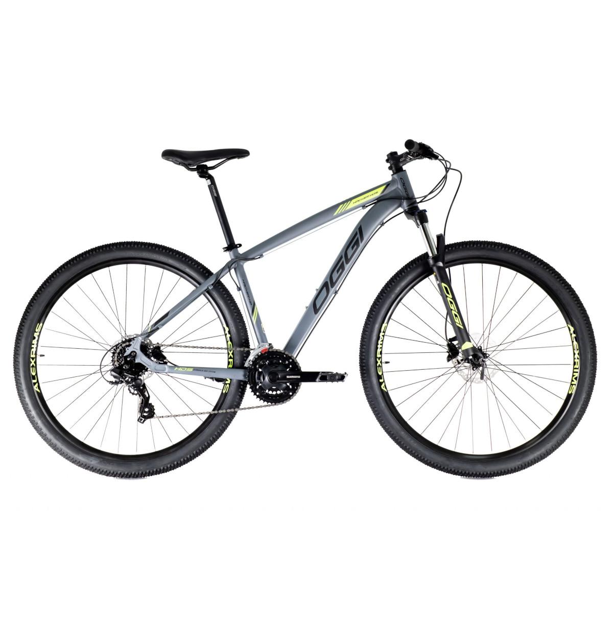 Bicicleta Oggi Hacker HDS aro 29 24v  Hidraulico Cinza/amarel.