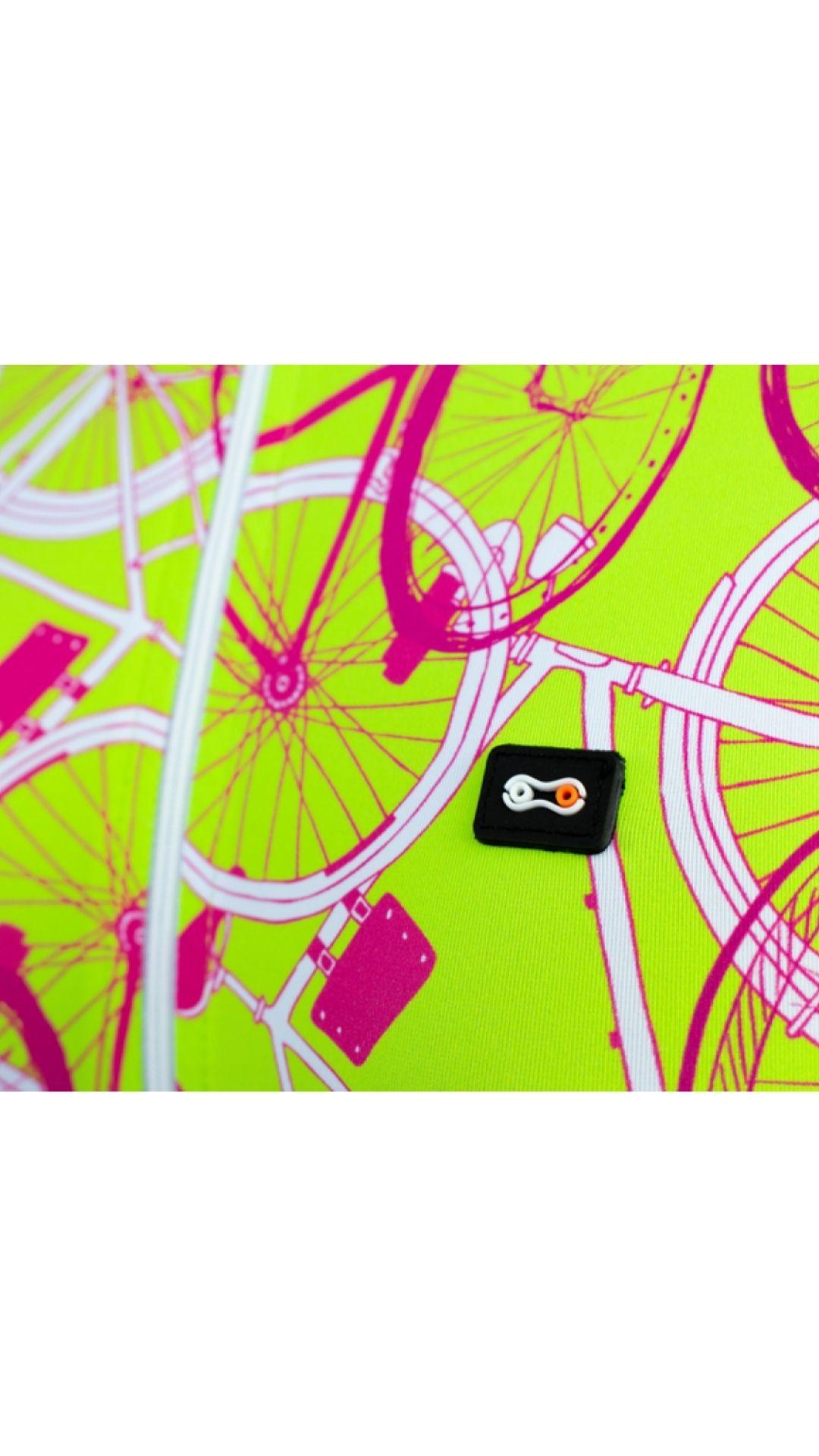 Camisa de Ciclismo Feminino Márcio May - Funny Neon Bike