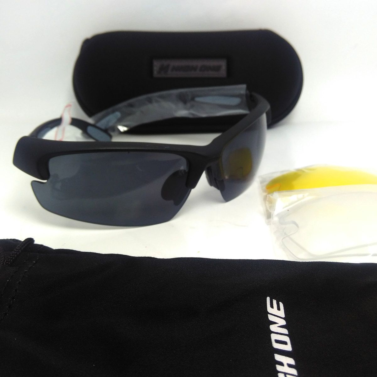 Óculos Ciclismo High One   3 Lentes + Case Preto