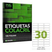 Etiqueta Adesiva Carta CC180 25,4mm x 66,7mm 100 Folhas Colacril