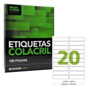 Etiqueta Adesiva Carta CC181 25,4mm x 101,6mm 100 Folhas Colacril