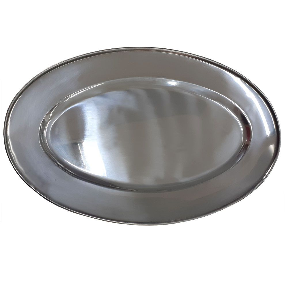 Travessa Oval Rasa Inox Silver 39 cm