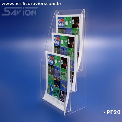 PF20-Porta Folheto de mesa/parede 3 A4