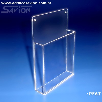 PF67-Porta Folheto de parede com bolso 15x22 cm A5  - Savion Acrilicos