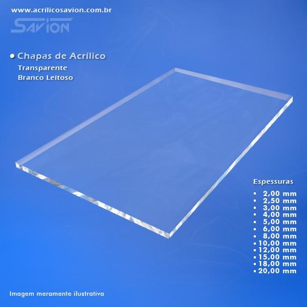 AC08-Chapa acrílica transparente 1000x2000x8,00 mm