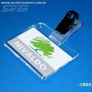 CR03-Crachá de identificação 6x3,5 cm - Presilha jacaré