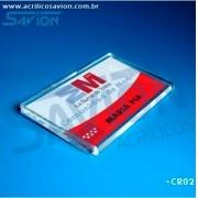 CR02-Crachá de Acrílico 6x3,5 cm - Presilha alfinete