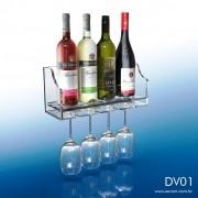 DV01-Suporte para Vinho e Taça em acrílico transparente