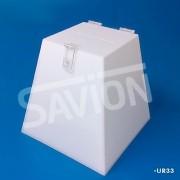 UR33-Urna Pirâmide Branca 26x18x30 Cm 1200 Cupons